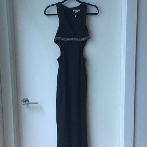 BCBGeneration beaded accent cut out evening gown